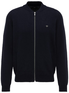Fynch-Hatton Zipper Cardigan College Collar Navy