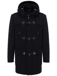 Fynch-Hatton Duffle Coat Doubleface Wool Mix Navy