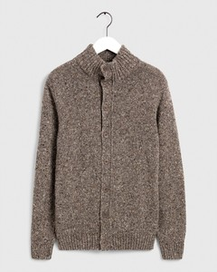 Gant Knit Mock Neck Cardigan Grey Melange