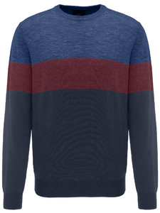 Fynch-Hatton O-Neck Block Stripe Navy-Zinfandel-Marine
