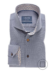 Ledûb Collar Contrasted Non-Iron Twill Donker Blauw
