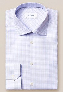 Eton Signature Twill Cotton Tencel Check Paars Melange