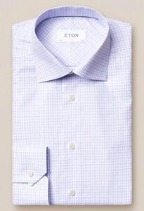 Eton Signature Twill Cotton Tencel Check Paars Melange