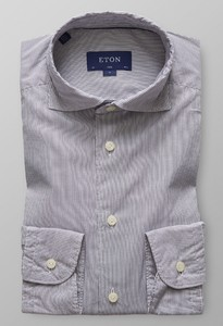 Eton Slim Striped Micromodal Grijs