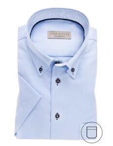 John Miller Short Sleeve Button Down Licht Blauw