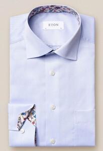 Eton Classic Uni Contrast Signature Twill Licht Blauw