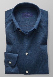 Eton Piqué Long Sleeve Poloshirt Dark Evening Blue
