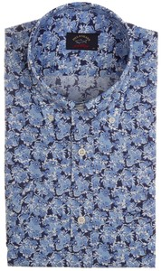 Paul & Shark Blue Flowers Shirt Blauw