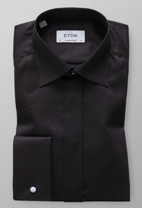 Eton Herringbone Fly Front Evening Zwart