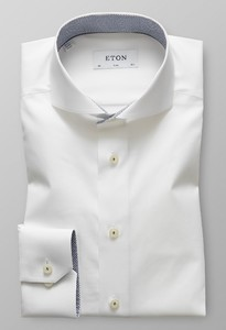 Eton Slim Poplin Uni Micro Contrast Wit