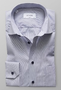 Eton Fine Duo Striped Poplin Dark Navy