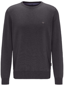 Fynch-Hatton Cotton Uni Round Neck Charcoal