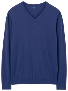 Gant Cotton Cashmere V-Neck Persian Blue