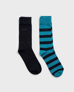 Gant 2Pack Barstripe And Solid Socks Saxony Blue
