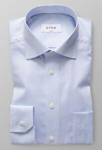 Eton Uni Twill Paisley Detail Licht Blauw