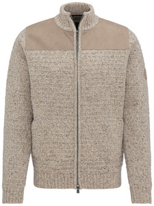Fynch-Hatton Cardigan Zip Suede Details Amarettini