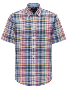Fynch-Hatton Colourful Button Down Linen Check Blauw