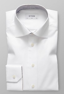 Eton Signature Twill Striped Contrast White