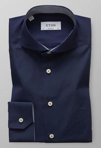 Eton Super Slim Uni Contrast Donker Blauw Melange