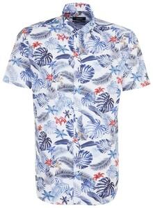 Seidensticker Floral Short Sleeve Fantasy Blauw