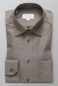 Eton Herringbone Signature Twill Diep Bruin