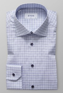 Eton Slim Checked Twill Light Blue