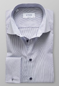 Eton Fine Striped Poplin French Cuff Dark Navy