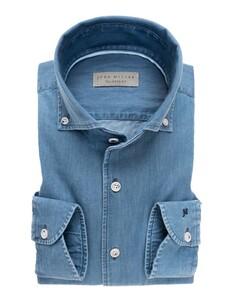 John Miller Soft Denim Extra Long Sleeve Midden Blauw