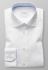 Eton Poplin Slim Mouwlengte 7 Wit