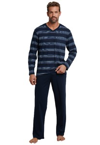 Schiesser Striped Original Classics Pajamas Dark Evening Blue