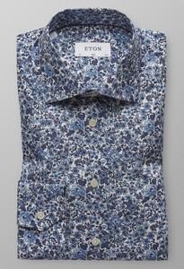 Eton Floral Poplin Shirt Diep Blauw