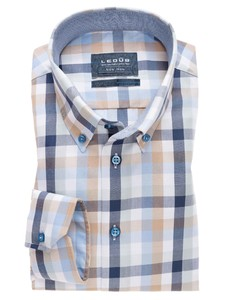 Ledûb Check Button Down Blauw