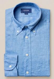 Eton Button Down Linnen Midden Blauw
