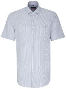 Seidensticker Striped Short Sleeve Blauw