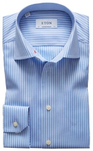 Eton Striped Cotton-Tencel Pastel Blauw