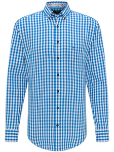 Fynch-Hatton Check Button Down Crystalblue