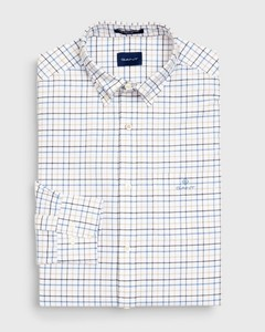Gant The Beefy Oxford Check Mid Blue Melange