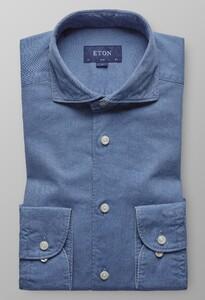 Eton Extreme Cutaway Lightweight Denim Avond Blauw