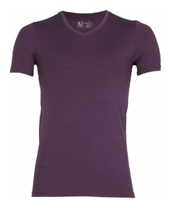 RJ Bodywear Pure Color V-hals T-Shirt Aubergine