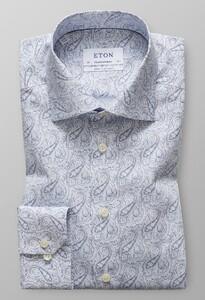 Eton Poplin Paisley Extra Long Sleeve Sky Blue