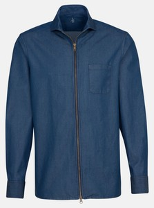 Jacques Britt Overshirt Zipper Denim Donker Blauw Melange