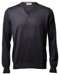 Gran Sasso Extrafine Merino V-Hals Fashion Charcoal