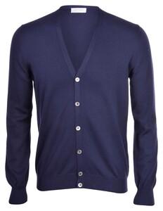 Gran Sasso Cotton Button Cardigan Blue Navy