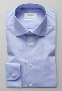 Eton Poplin Floral Dot Sleeve 7 Light Blue