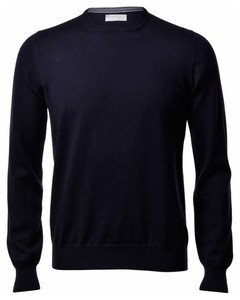 Gran Sasso Merino Extrafine Ronde Hals Fashion Blue Navy