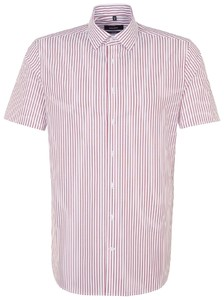 Seidensticker Tailored Striped Business Short Sleeve Rode Wijn