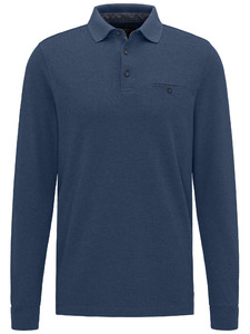 Fynch-Hatton Polo Longsleeve Melange Denim Blue