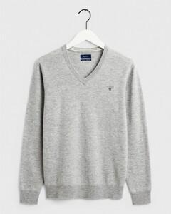 Gant Super Fine Lambswool V-Neck Light Grey