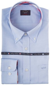 Paul & Shark Check Contrasted Yachting Oxford Licht Blauw