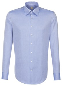 Jacques Britt Hidden Button Down Mini Herringbone Intens Blauw